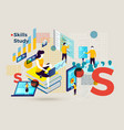 letter s with people study skills online vector image