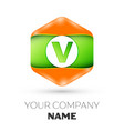 letter v logo in the colorful hexagonal vector image vector image
