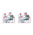 male and female nurse at paperwork vector image