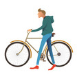 man walking bike male character with bicycle vector image