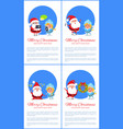 merry christmas banner santa claus and snow maiden vector image vector image