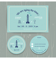 Nautical light house wedding invitation and RSVP vector image vector image