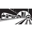 platform subway station with trains vector image vector image