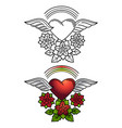 rainbow heart and floral ornament tattoo design vector image
