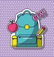 school backpack ops apple pencil elementary vector image vector image
