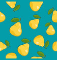 seamless pattern pear on azure background vector image vector image