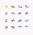 set line icons weather vector image vector image