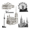 set of vienna symbols hand drawn ink pen vector image