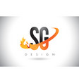sg s g letter logo with fire flames design and vector image vector image