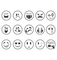 smiley emoji faces outline icons vector image vector image