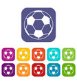 soccer ball icons set flat vector image vector image