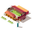 soccer stadium building with ticket office vector image vector image