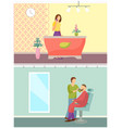 spa salon receptionist and barber shop vector image vector image