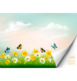 spring nature background with grass and flowers vector image vector image