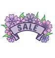 spring sale sign on ribbon with purple flowers and vector image vector image