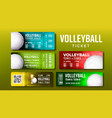 stylish design volleyball tickets flyer set vector image vector image