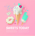 sweets chocolate and ice cream delicious candy vector image