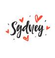 sydney modern city hand written brush lettering vector image vector image
