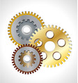 three gear gold icon symbol vector image