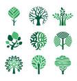 tree logo green eco symbols nature wood vector image