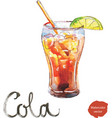 watercolor cola with lime vector image vector image