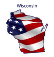 wisconsin full american flag waving in wind vector image vector image
