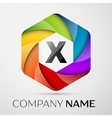X Letter colorful logo in the hexagonal on grey vector image vector image