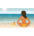 Young girl sunbathes on a beach and caring about vector image vector image