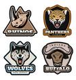 vintage colorful animals emblems set vector image