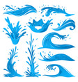 set of water splashes wave twirl isolated surge vector image