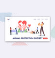animal protection society landing page template vector image vector image