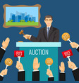 auction process with man holding wooden gavel vector image vector image