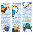 back to school discount banner for sale design vector image vector image