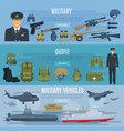 banners military forces vehicles and outfit vector image vector image