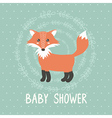 bashower card with a cute fox vector image