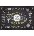 BBQ PARTY ON CHALKBOARD vector image