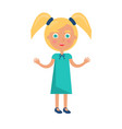 blonde girl with ponytails in happy childrens day vector image vector image