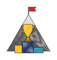 business success trophy mountain with flag color vector image vector image