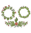 cactus floral frame set hand drawn outline cactus vector image vector image