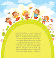 children jumping in meadow template vector image vector image