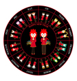 chinese zodiac horoscope wheel rooster vector image