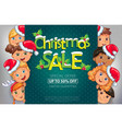 christmas sale design with cute kids vector image vector image