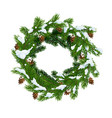 christmas wreath in snow and pinecones vector image