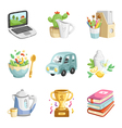 colorful miscellaneous icons collection vector image vector image