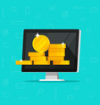 computer with money flat vector image vector image