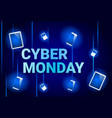 cyber monday sale banner with digital tablets on vector image