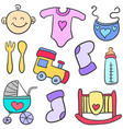 doodle of element toys for baby vector image vector image