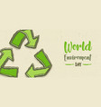 environment day banner green recycle symbol vector image