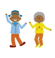 flat cartoonof elderly couple dancing fuuny vector image