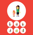flat icon people set of boys grandson mother vector image vector image